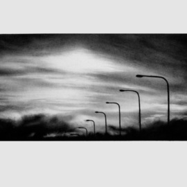 Lyudmila Kogan Artwork Crossing Over San Mateo Bridge, 2008 Charcoal Drawing, Landscape