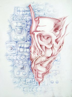 Abstract Figurative Pencil Drawing by Lyudmila Kogan Title: DISPERSED, created in 2004