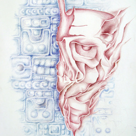 Lyudmila Kogan: 'DISPERSED', 2004 Pencil Drawing, Abstract Figurative. Artist Description:  The reflection on a gradual disappearance of the ancient Mayan city, Chichen Itza, that once was a large city with a great many inhabitants who had been distributed over a wide area.   ...