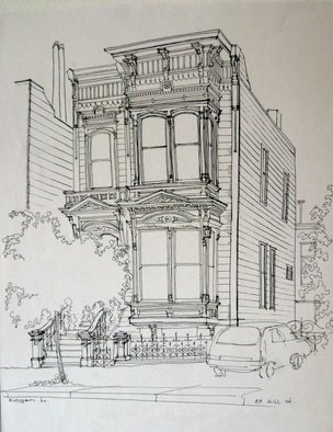 Lyudmila Kogan Artwork Hill street , 1996 Pen Drawing, Architecture