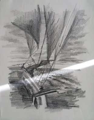 Pencil Drawing by Lyudmila Kogan titled: Sail Boat, 1994