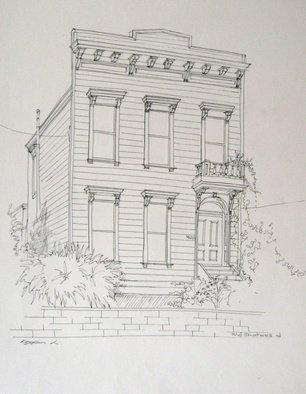 Lyudmila Kogan Artwork Shotwell Street San Francisco, 1996 Pen Drawing, Architecture