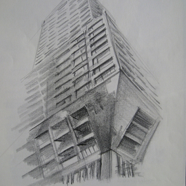 Lyudmila Kogan Artwork looking up, 1994 Pencil Drawing, Architecture
