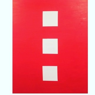Linda Dimitroff: 'Boxed', 2018 Oil Painting, Abstract. Artist Description: Abstract oil painting in red and white, vertical. ...