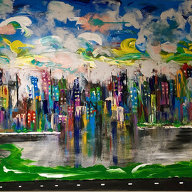 Mac Worthington: '5th avenue manhattan', 2019 Acrylic Painting, Abstract Figurative. Artist Description: Heavy texture acrylic on stretched canvasSigned   dated. Certificate of Authenticity. Ready to hang.For further information on this piece or to discuss a custom design please call 614 | 582 | 6788 or email: macwartist aol. com	...