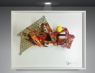 Mac Worthington: 'Between The Ideal SOLD Commissions accepted ', 2019 Aluminum Sculpture, Abstract. Welded aluminum painted automotive enamel shadowbox framed.  Signed dated.  Certificate of Authenticity.  Ready to hang. ...