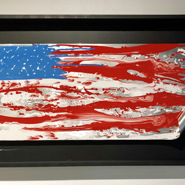 Mac Worthington: 'america edition xviii', 2019 Aluminum Sculpture, Abstract Figurative. Artist Description: This edition is aluminum painted automotive enamel floating in a shadowbox frame.Signed   dated. Certificate of Authenticity. Ready to hang...