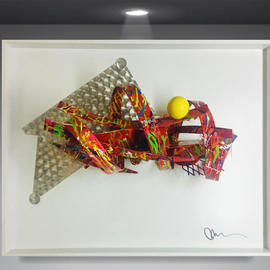 Mac Worthington: 'between the ideal', 2019 Aluminum Sculpture, Abstract. Artist Description: Welded aluminum painted automotive enamel shadowbox framed. Signed   dated. Certificate of Authenticity. Ready to hang. ...