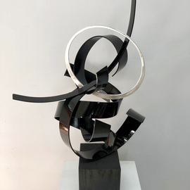 Mac Worthington: 'dancing alone', 2021 Aluminum Sculpture, Abstract. Artist Description: Table Top SculptureWelded with a high polish brush finish painted high gloss pitch black.Available. Signed   dated. Certificate of Authenticity.Delivery   shipping availableStudio: 5935 Houseman Rd, historic Ostrander, Ohio.For further information on this piece or to discuss a custom design please call 614 | 582 | 6788 ...