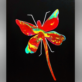 Mac Worthington: 'dragon fly', 2020 Aluminum Sculpture, Abstract Figurative. Artist Description: metal Dragon Fly painted acrylic enamel on stretched canvas. ...