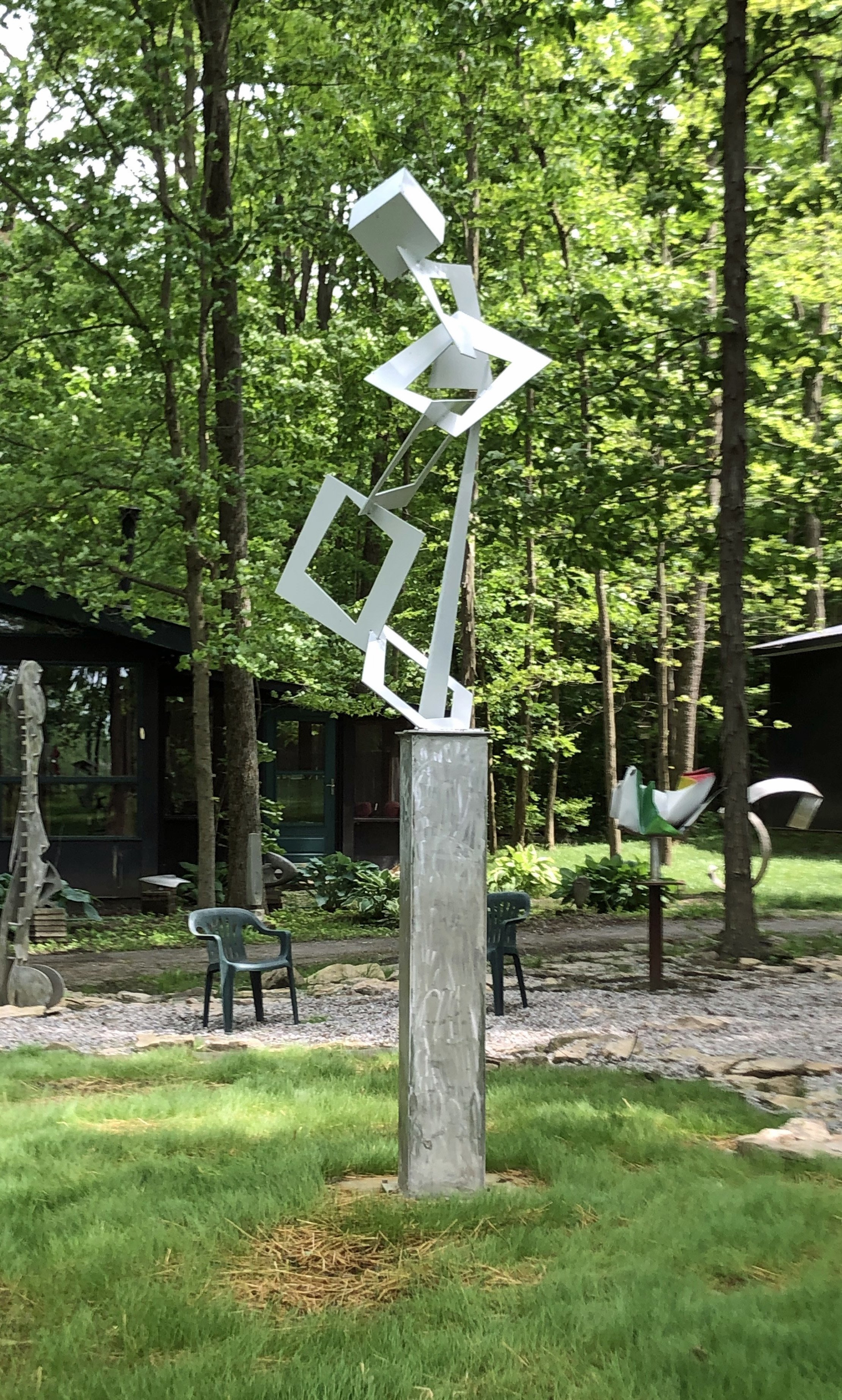 Mac Worthington: 'flight of angels', 2020 Aluminum Sculpture, Abstract. Welded aluminum painted pearl white. Abstract outdoor sculpture...