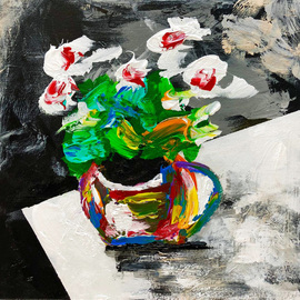 Mac Worthington: 'flowers in a teacup', 2019 Acrylic Painting, Floral. Artist Description: S O L DHeavy acrylic on stretched canvasAvailable.  Signed dated.  Certificate of Authenticity.  Ready to hang.For further information on this piece or to discuss a custom design please call 614 | 582 | 6788 or email macwartist aol.  com	...