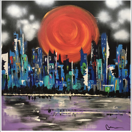 Mac Worthington: 'sunset over capital', 2020 Acrylic Painting, Abstract Landscape. Artist Description: Acrylic on stretched canvas. Available. Signed   dated. Certificate of Authenticity. Ready to hang. ...