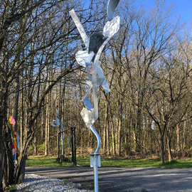 Mac Worthington: 'traveler', 2020 Aluminum Sculpture, Abstract. Artist Description: Welded aluminum. Abstract outdoor sculpture. Located now at the Mac Worthington Sculpture Park...