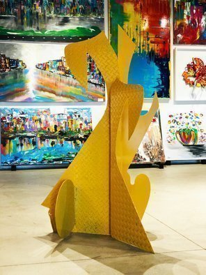 Mac Worthington: 'yellow shadows', 2020 Aluminum Sculpture, Abstract. Outdoor Welded aluminum painted automotive acrylic   clear coated. Available. Signed   dated. Certificate of Authenticity. Installation, delivery or shipping is available. ...