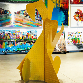 Mac Worthington: 'yellow shadows', 2020 Aluminum Sculpture, Abstract. Artist Description: Outdoor Welded aluminum painted automotive acrylic   clear coated. Available. Signed   dated. Certificate of Authenticity. Installation, delivery or shipping is available. ...