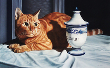 - artwork Cat_and_the_jar_of_gentian-1197141743.jpg - 2006, Painting Oil, Figurative