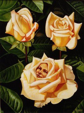 Mario Cossu: 'Yellow Roses', 1998 Oil Painting, Floral.  A face of a woman among yellow roses. ...