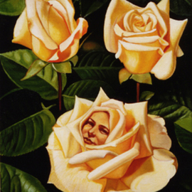 Mario Cossu: 'Yellow Roses', 1998 Oil Painting, Floral. Artist Description:  A face of a woman among yellow roses. ...