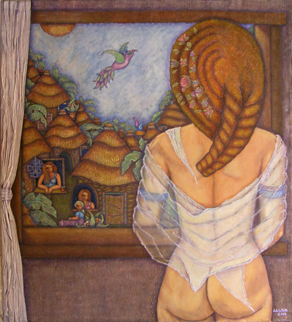 Madalena Lobaotello  'For There Of The Window The Dream', created in 2007, Original Mixed Media.