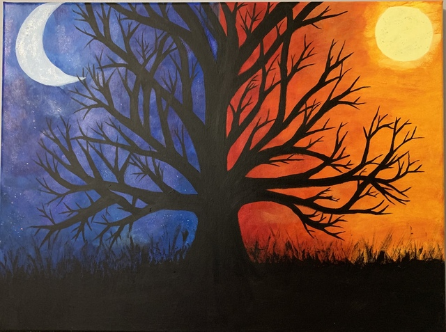 Maddi Berry  'Day Bleeds Into Night', created in 2020, Original Painting Acrylic.