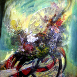 Magda Santiago: 'Flora Yo', 2004 Oil Painting, Floral.