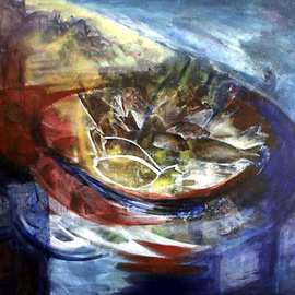 Magda Santiago: 'Manjua', 2005 Oil Painting, Fish.
