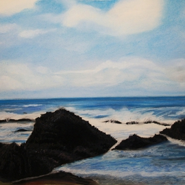 Maggie Bezuhly: 'Oregon Coast 2', 2009 Pastel, Beach. Artist Description:     Pastel Painting of the beautiful and roughed  Oregon Coast   ...