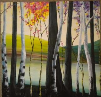 Landscape Acrylic Painting by Carlos Torres Title: Behind The Trees, created in 2010