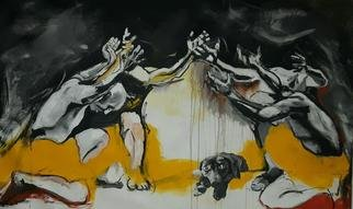 Mahjoob Zohourian: 'we love eating dogs', 2017 Acrylic Painting, Dogs. animal cruelty...