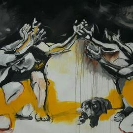 Mahjoob Zohourian: 'we love eating dogs', 2017 Acrylic Painting, Dogs. Artist Description: animal cruelty...