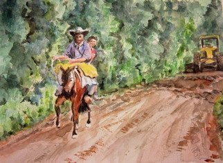 Mary Jean Mailloux: 'after the rains', 2016 Watercolor, Scenic. The juxtaposition of modern technology and traditional life styles was the inspiration for this piece. The countryside is Costa Rica ...