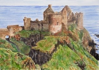 Mary Jean Mailloux: 'dunluce castle ruins', 2017 Watercolor, Scenic. These awe inspiring castle ruins were once a stronghold on the Northern Sea of Ireland. Left to to the ravages of the elements they still hold so much history and mystery. ...