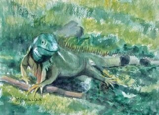 Mary Jean Mailloux: 'iguana camo', 2020 Watercolor, Wildlife. So close in colour to its surroundings, this giant iguana, sat calmly next to the walkway.  It had no intention of moving.  I readily excused myself.  Up close it reveals its exquisite colouring...