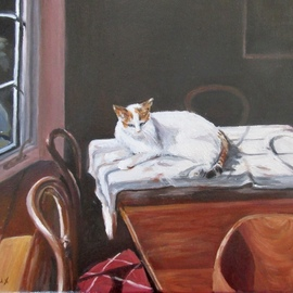 Mary Jean Mailloux: 'still life with cat', 2018 Oil Painting, Still Life.