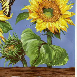 Mary Jean Mailloux Artwork sunflower, 2007 Gouache Drawing, Botanical