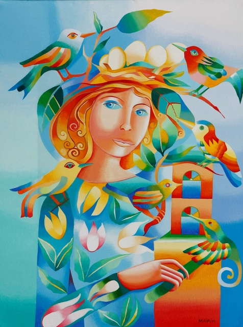 Mairim Perez Roca  'Woman With Birds', created in 2019, Original Painting Acrylic.