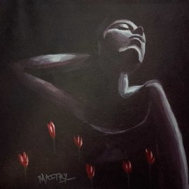 Maitrry P Shah: 'unrequited dreams', 2020 Acrylic Painting, People. Artist Description:  Unrequited dreams   is a painting of dream of woman. here red flowers shows her dreams , dark black purple color shows little depair. the dreams never come back the way she wanted. beautiful expressions and very in depth meaning of painting using colors . ...
