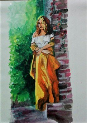 Maitrry P Shah: 'waiting at door', 2020 Acrylic Painting, Beauty. Waiting at door...