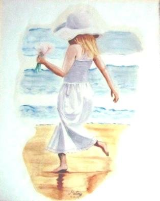 Maitrry P Shah: 'walk at the seashore', 2011 Acrylic Painting, Beach. walk at the seashore...