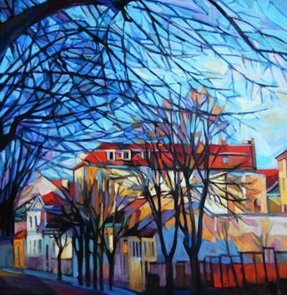 Maja Djokic Mihajlovic: 'autumn', 2018 Oil Painting, Architecture. Original oil painting on canvas   2018  , cityscape, town, trees, branches, ...