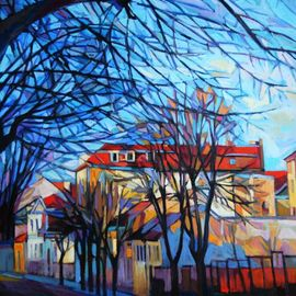 Maja Djokic Mihajlovic: 'autumn', 2018 Oil Painting, Architecture. Artist Description: Original oil painting on canvas   2018  , cityscape, town, trees, branches, ...