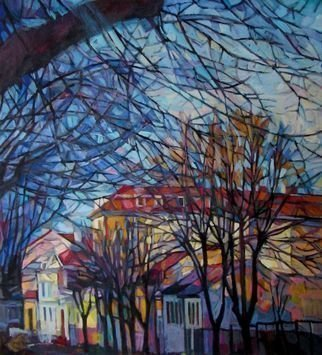 Maja Djokic Mihajlovic: 'autumnal cityscape', 2013 Oil Painting, Urban. urban, city, cityscape, town, autumn, trees, street, colors, canvas, oil...