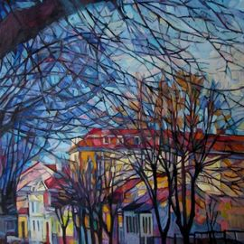 Maja Djokic Mihajlovic: 'autumnal cityscape', 2013 Oil Painting, Urban. Artist Description: urban, city, cityscape, town, autumn, trees, street, colors, canvas, oil...