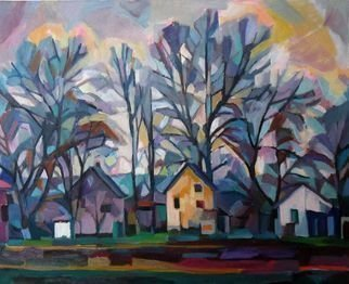 Maja Djokic Mihajlovic: 'autumnal landscape', 2018 Oil Painting, Abstract Figurative. Artist Description: autumnal, landscape, street, houses, building, home, autumn, abstract, ...