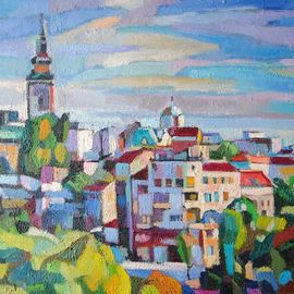 Maja Djokic Mihajlovic: 'cityscape', 2018 Oil Painting, Architecture. Artist Description: This is a unique, one of a kind original oil painting. The painting is sold unframed. It is signed on back and comes with a Certificate of Authenticity.The painting will be carefully packed in cardboard box with layers of bubble wrap and sent out to you as ...