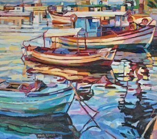 Maja Djokic Mihajlovic: 'fishing boats', 2016 Oil Painting, Boating. Poster 125 views   View on a coastal areas and old fishing boats . Mediterranean motifs.This is a unique, one of a kind original oil painting. The painting is sold unframed. It is signed on front and comes with a Certificate of Authenticity. The painting will be carefully packed in cardboard ...