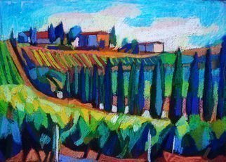 Maja Djokic Mihajlovic: 'landscapes of tuscany', 2018 Pastel, Landscape. Original pastel drawing. Dimension is 34. 8 x 24. 8 x 0. 1 cm .Landscape, sea, sky, Toscany , Nature, color, trees, field, ...