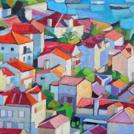 Maja Djokic Mihajlovic: 'medterranean seascape', 2018 Oil Painting, Architecture. Artist Description: seascape, architecture, stone, town, city, houses, buildings, ...