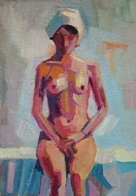 Maja Djokic Mihajlovic: 'nude1', 2018 Oil Painting, nudes. Oil painting on CanvasOne of a kind artworkSize: 11. 4 x 16. 3 x 0. 2 cm  unframed    11. 4 x 16. 4 cm  actual image size Signed on the frontStyle: Expressive and gesturalSubject: Nudes and erotic...